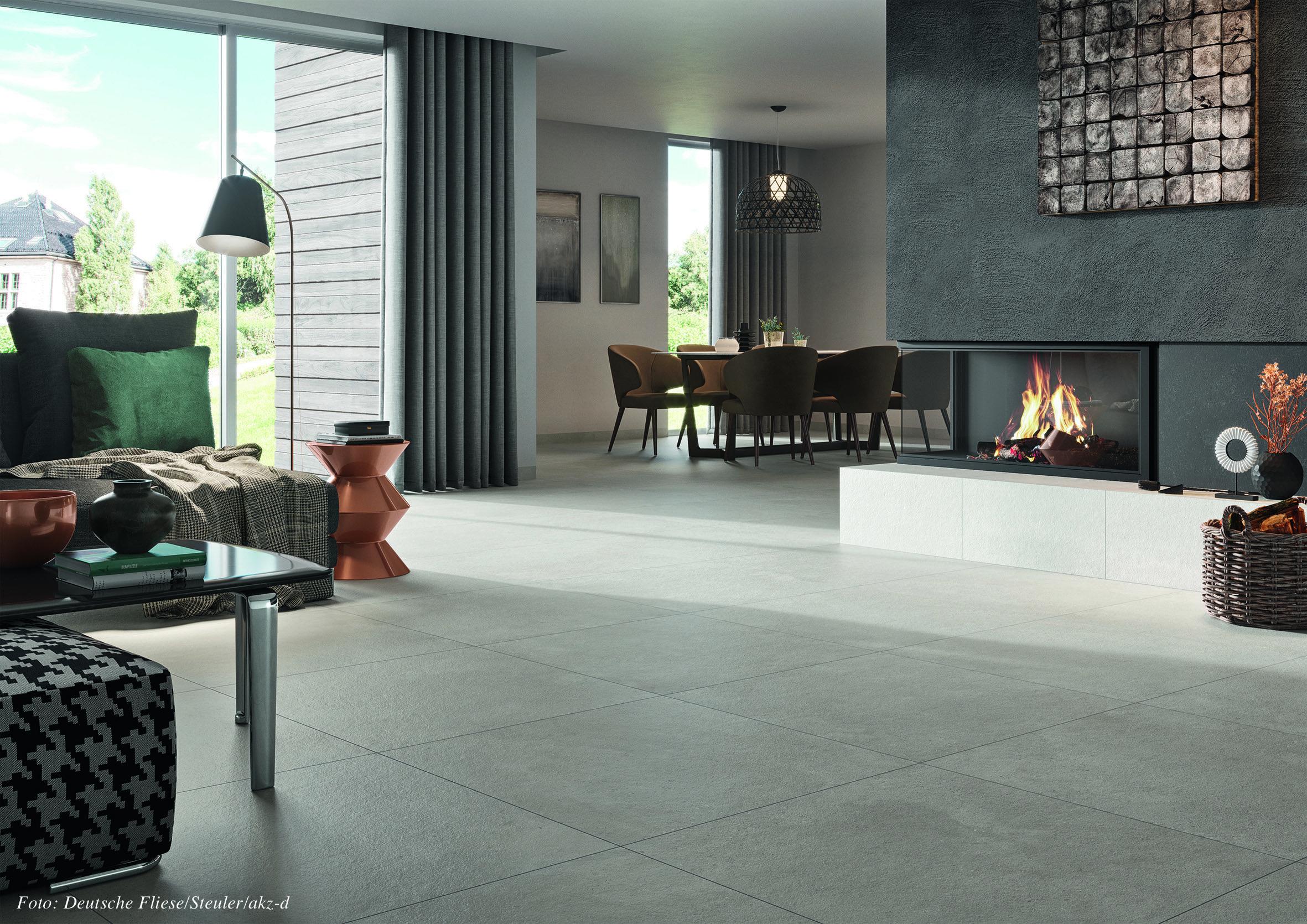 Keramische Fliesen verstärken als hervorragende Wärmeleiter die Effizienz einer Fußbodenheizung. Mit robusten Oberflächen und hochwertigem Design sind sie außerdem ökologisch, weil über Jahrzehnte nutzbar. Foto: Deutsche Fliese/Steuler/akz-o